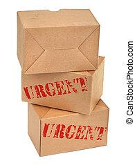 scatole, cartone, tre, againt, bianco