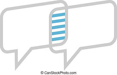 scatole, intersecare, dialogo