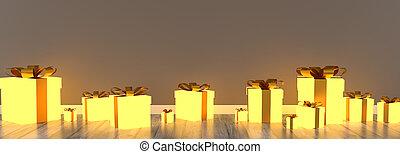 scatole, regalo, stanza, vuoto, ardendo