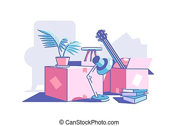 scatole, roba, cartone