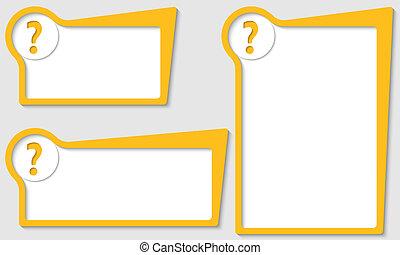 scatole, set, domanda, tre, marchio