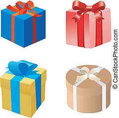 scatole, set, regalo