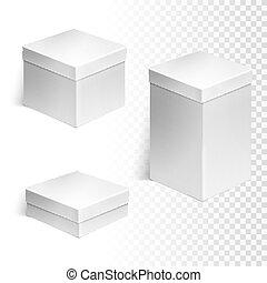 scatole, set, tre