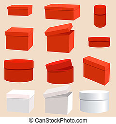 scatole, set, vuoto
