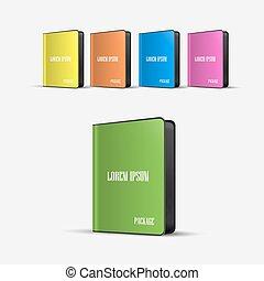 scatole, software, colorato, pacchetto