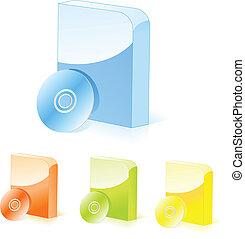 scatole, software, variopinto, cd