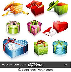 scatole, vettore, set:, regalo
