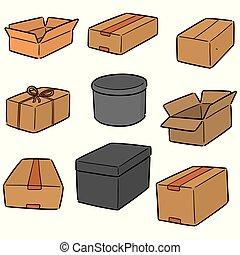 scatole, vettore, set