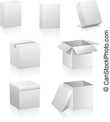 scatole, vuoto, bianco, isolato