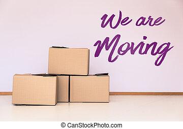 scatole, vuoto, spostamento, stanza, lotto