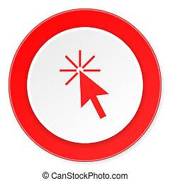 scatto, fondo, moderno, icona, cerchio, disegno, appartamento, rosso, 3d, qui, bianco