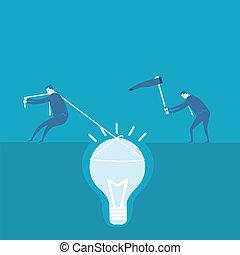 scavare, concetto, idea, uomo affari