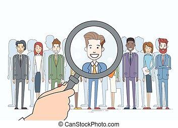 scegliere, affari persone, reclutamento, ingrandendo, candidato, persona, gruppo, mano, vetro