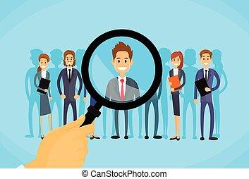 scegliere, affari, reclutamento, ingrandendo, zoom, persona, mano, vetro