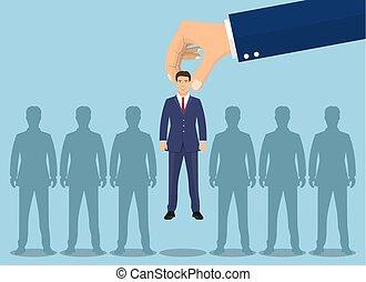 scegliere, businessman., su, affari, mano