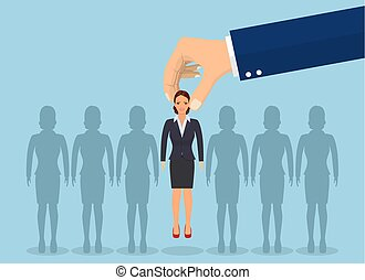 scegliere, businesswoman., su, affari, mano