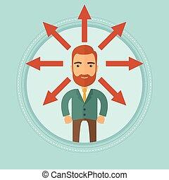 scegliere, carriera affari, solution., modo, o, uomo