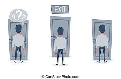 scegliere, fronte, door., modo, spostamento, uomo affari, avanti, standing
