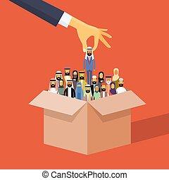 scegliere, persone, reclutamento, affari, arabo, musulmano, candidato, persona, scatola, mano
