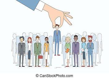 scegliere, persone, reclutamento, affari, candidato, persona, gruppo, mano