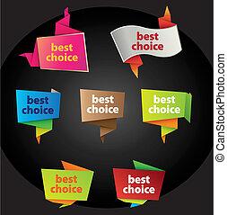 scelta, meglio, etichette
