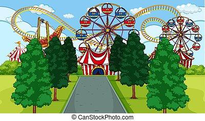 scena, divertimento, esterno, parco