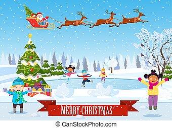 scena, inverno, bambini, pattinaggio