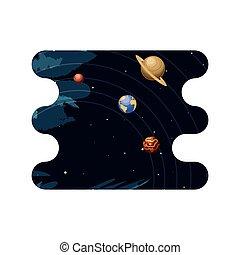 scena, sistema solare, pianeti, spazio