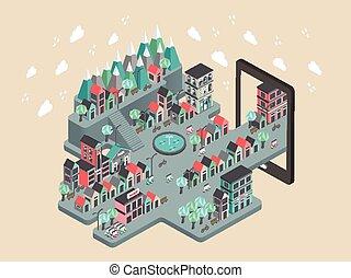 scenario, appartamento, isometrico, città, illustrazione, 3d