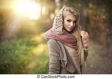 scenario, autunno, ragazza, giovane, sorridente