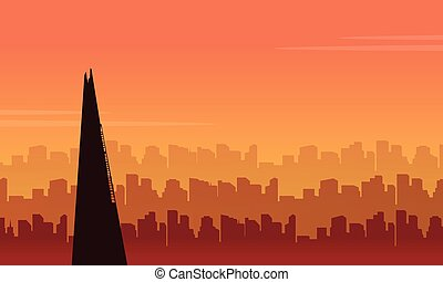 scenario, città, costruzione, bellezza, silhouette, londra