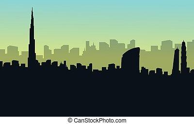 scenario, città, dubai, collezione, silhouette, casato