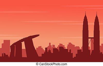 scenario, città, giro, silhouette
