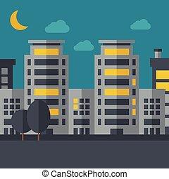 scenario, città, notte, costruzione, luna