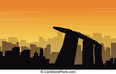 scenario, città, silhouette, collezione, messico