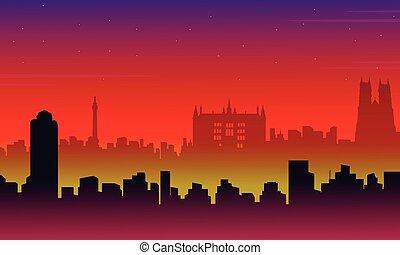 scenario, città, silhouette, londra, costruzione