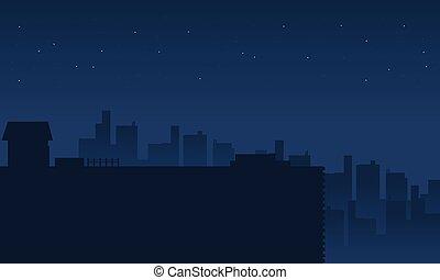 scenario, città, silhouette