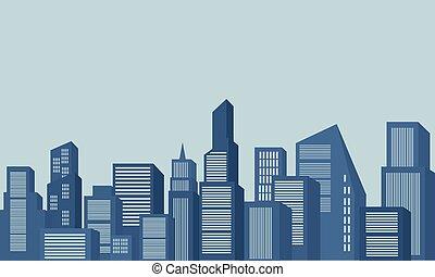scenario, costruzione, silhouette