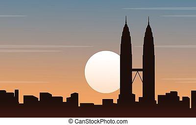 scenario, malaysia, silhouette, collezione, città