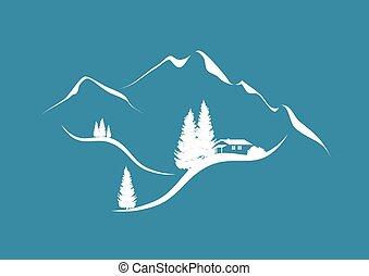 scenario, montagna, capanna, abeti, alpino