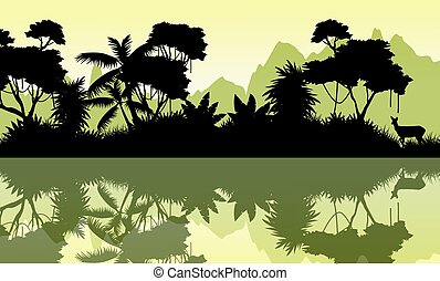 scenario, montagna, silhouette, giungla, fondo
