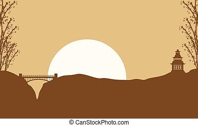 scenario, ponte, silhouette, padiglione, collezione
