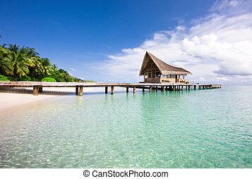 scenario, sopra, acqua, ville, spiaggia, bello