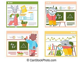 scene, classroom., divertente, animali, scuola, set, students., collezione, indietro, cartone animato