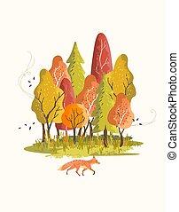 scenico, foresta, autunno, colorito