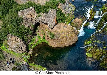 scenico, hjalparfoss, islanda, sud, paesaggio