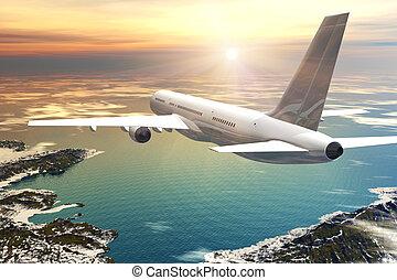 scenico, volo, tramonto, aereo di linea