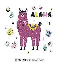 scheda, alpaca, llama., stile, divertente, stampa, aloha, carino, infantile