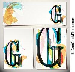 scheda, augurio, g, lettera, artistico