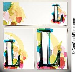 scheda, augurio, l, lettera, artistico